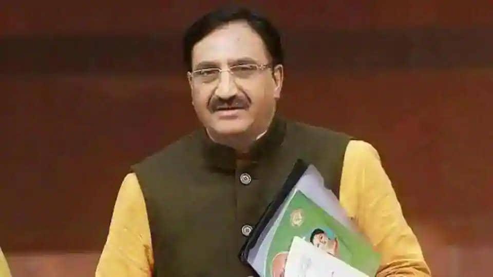 HRD minister Ramesh Pokhriyal. (HT file)