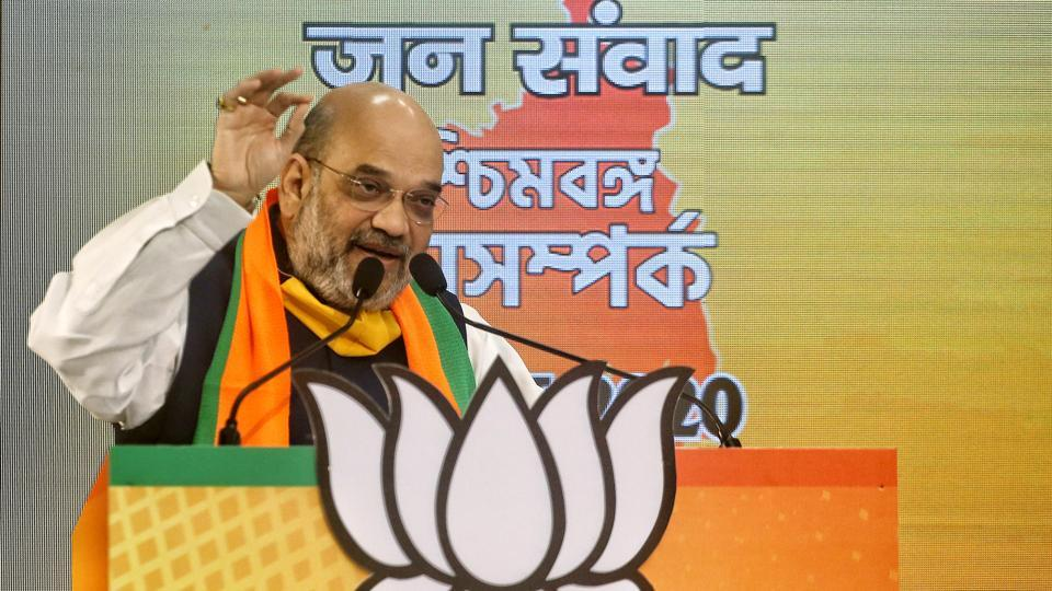 Union home minister and BJP leader Amit Shah addressing 'West Bengal Jan-Samvad Rally' through video conferencing in New Delhi on Tuesday.