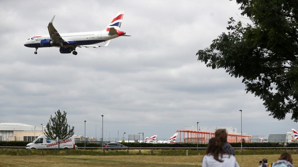 A passenger aircraft, operated by British Airways, a unit of International Consolidated Airlines Group SA (IAG) comes into land at London Heathrow Airport in London, UK.
