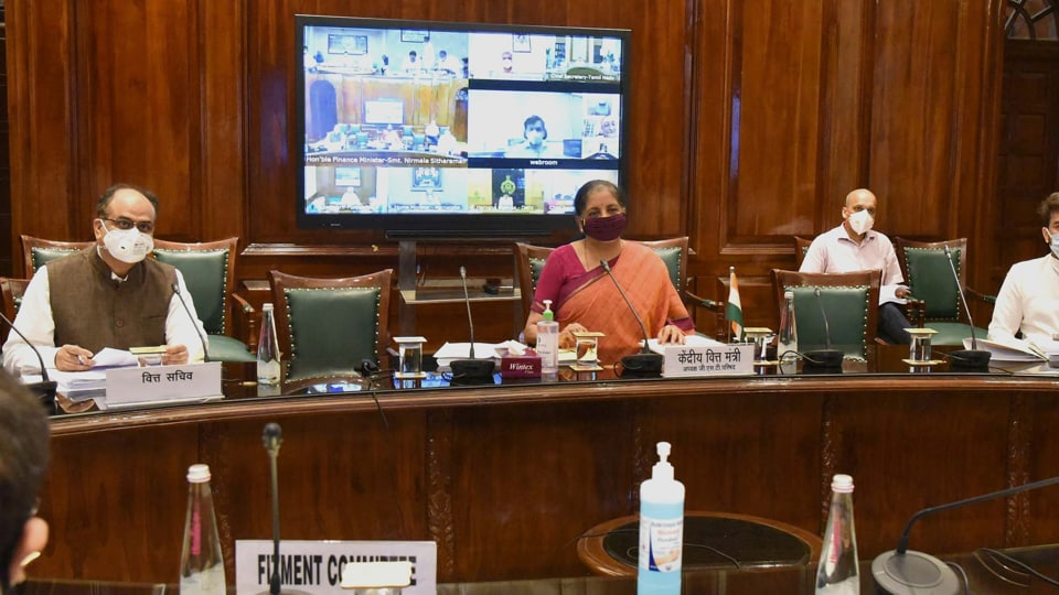Union minister for finance and corporate affairs Nirmala Sitharaman chairing the 40th GST Council meeting via video conferencing, in New Delhi on June 12, 2020.