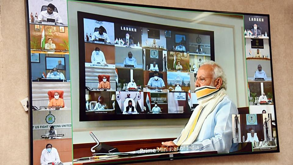 PM Narendra Modi's  video conference meeting with chief ministers.
