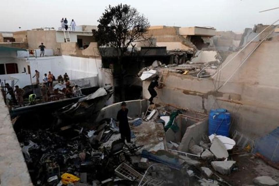 The domestic flight from Lahore to Karachi crashed in a residential area near the Jinnah International Airport in Karachi on May 22.