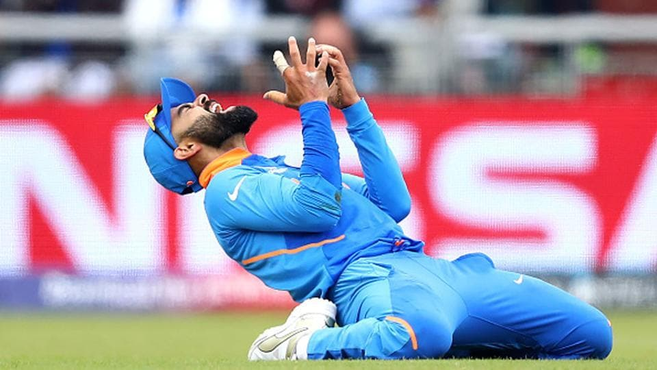 India captain Virat Kohli after dropping a catch.