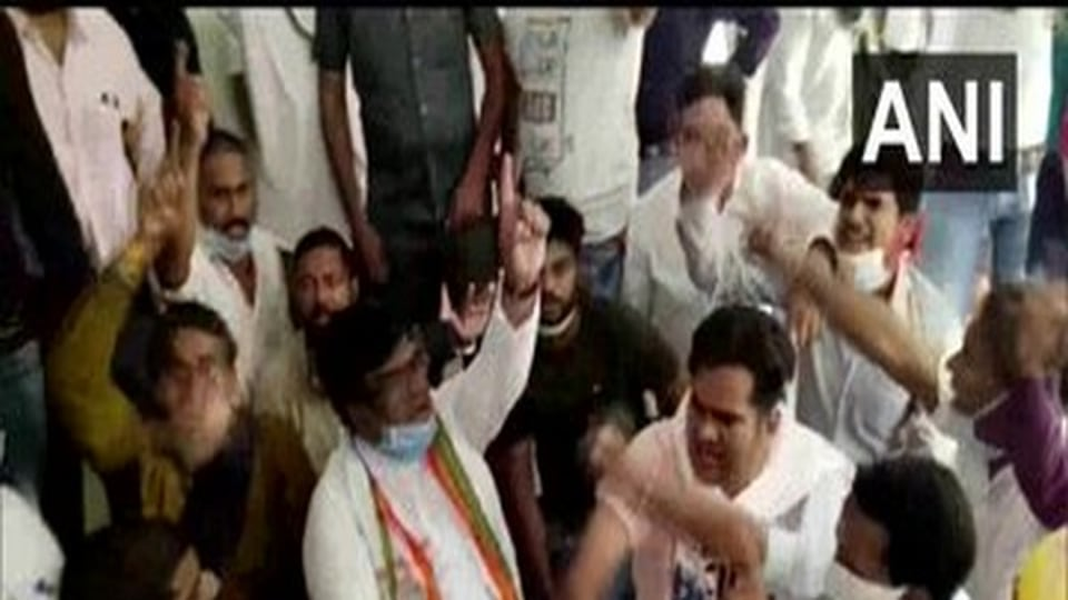 In a video of the incident, Congress MLA VinayJaiswal could be seen surrounded by nearly a dozen protesters with some of them seen without masks.