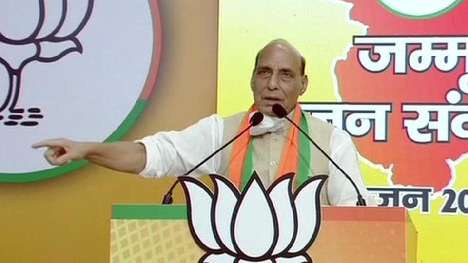 Union defence minister Rajnath Singh addressed the 'Jammu Jan Samvad rally' via video conferencing on Sunday.