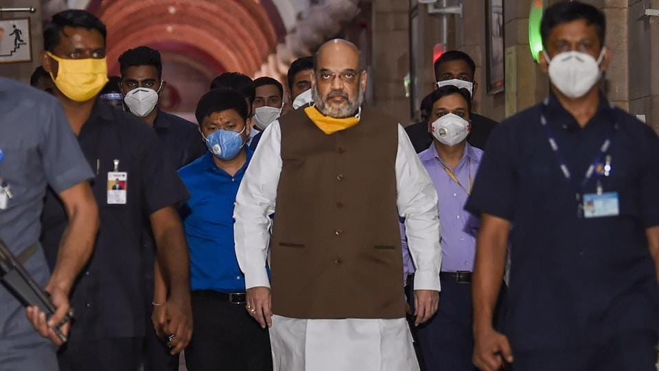 Home Minister Amit Shah attends an all-party meet on the Covid-19 situation in Delhi at North Block in the capital on Monday.