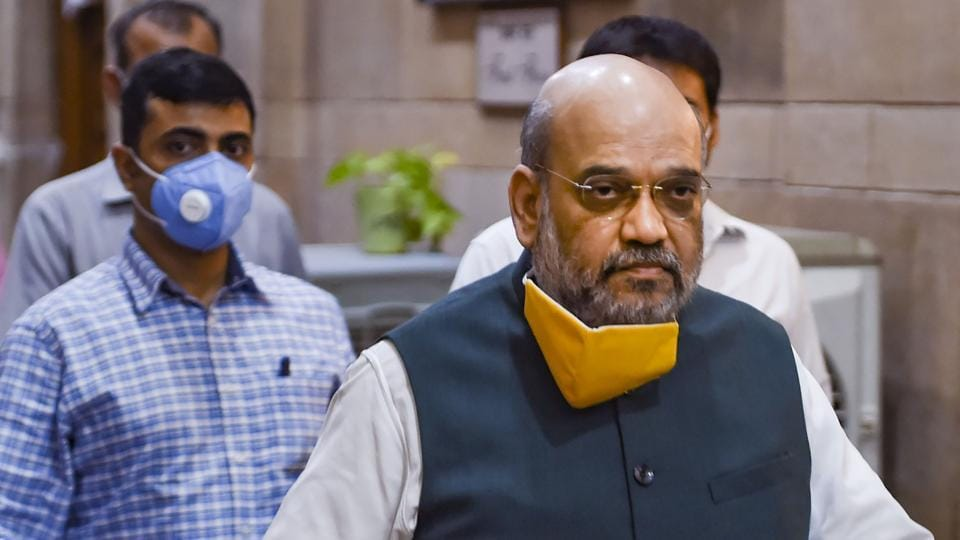 Union Home Minister Amit Shah arrives for a meeting to discuss the Covid-19 situation in Delhi, on Sunday.