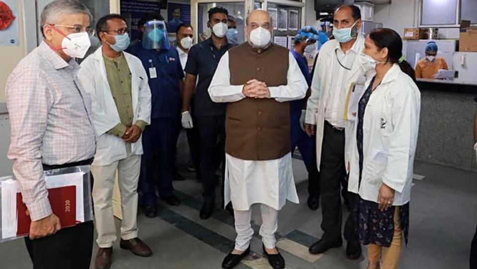 Home Minister Amit Shah during his visit to LNJP Hospital to review the preparedness for Covid-19 in New Delhi on Monday.