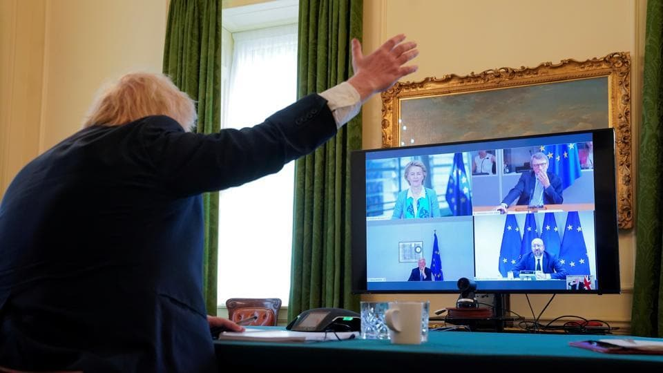 Prime Minister Boris Johnson, joined by Europe Adviser and Chief Negotiator of Task Force Europe David Frost and Chancellor of the Duchy of Lancaster Michael Gove, takes part in a video conference call with European Council president Charles Michel, European Commission President Ursula von der Leyen and European Parliament President David Sassoli and EU's Brexit negotiator Michel Barnier, at 10 Downing Street in London.