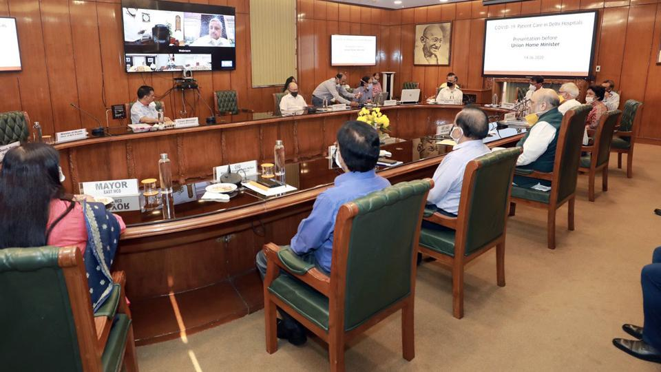 Union Home Minister Amit Shah and Health Minister Dr Harsh Vardhan chair the meeting with Delhi chief minister Arvind Kejriwal, LG Anil Baijal and all 3 Mayors of MCD to review the Covid-19 situation in the national capital, on Sunday.