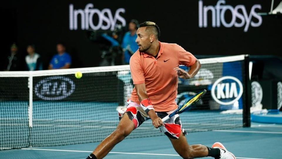 Australia's Nick Kyrgios in action during his match against Spain's Rafael Nadal.