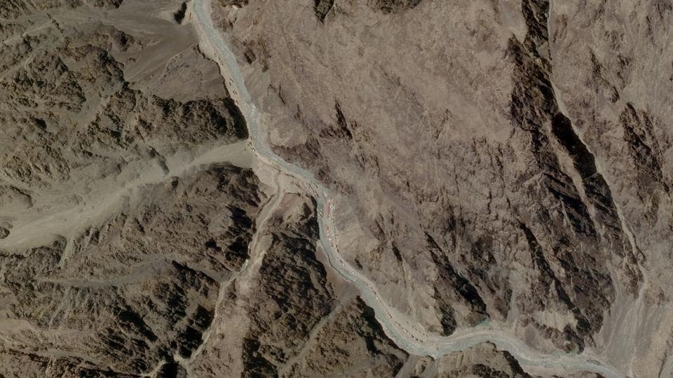A satellite image shows the Galwan Valley in Ladakh on June 16, where violent clashes took place between Indian and Chinese soldiers onMonday.
