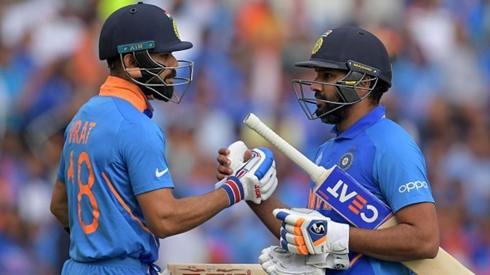 Virat Kohli and Rohit Sharma batting together.