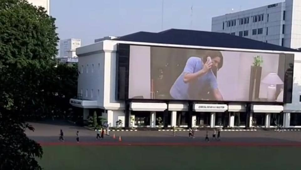The Untold Story being played on a billboard in Indonesia as a tribute to Sushant Singh Rajput.