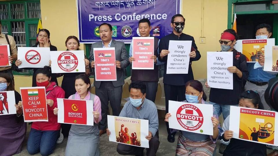 Tibetan NGOs during the protest in McLeod Ganj on Thursday.