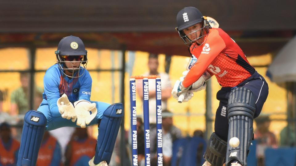 England's Danielle Wyatt plays a shot during the 2nd T20 international cricket match between India and England at Barsapara Cricket Stadium, in Guwahati.