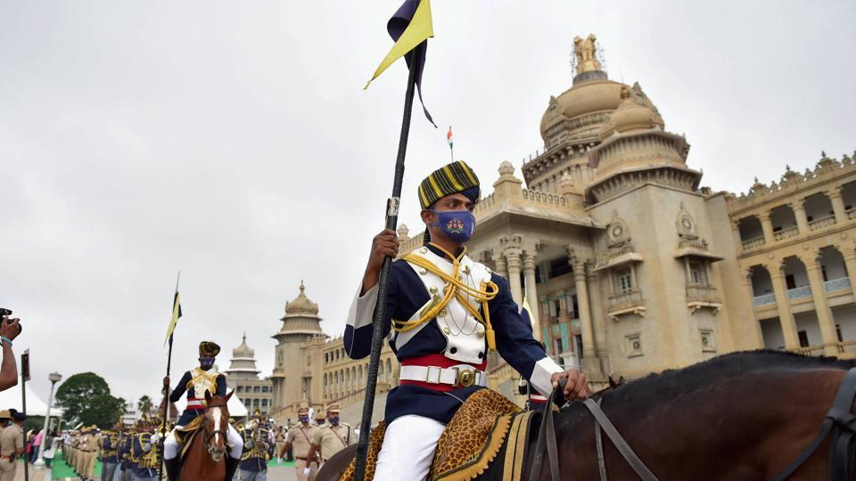 Mounted police personnel take part in 'Mask Day' rally organised by Karnataka government in the wake of coronavirus pandemic, during the ongoing nationwide lockdown, in Bengaluru, Thursday, June 18, 2020.