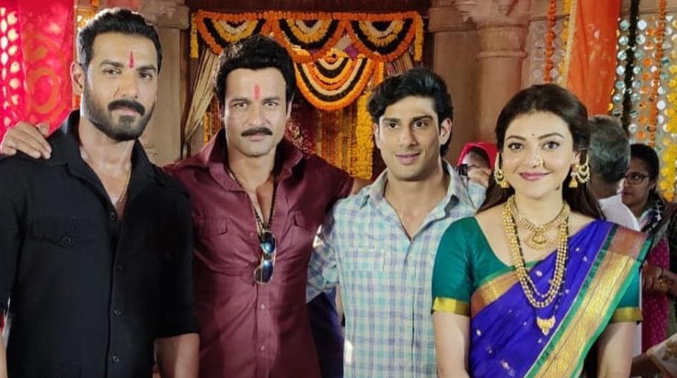 Rohit Roy with Mumbai Saga co-stars John Abraham, Prateik Babbar and Kajal Aggarwal.
