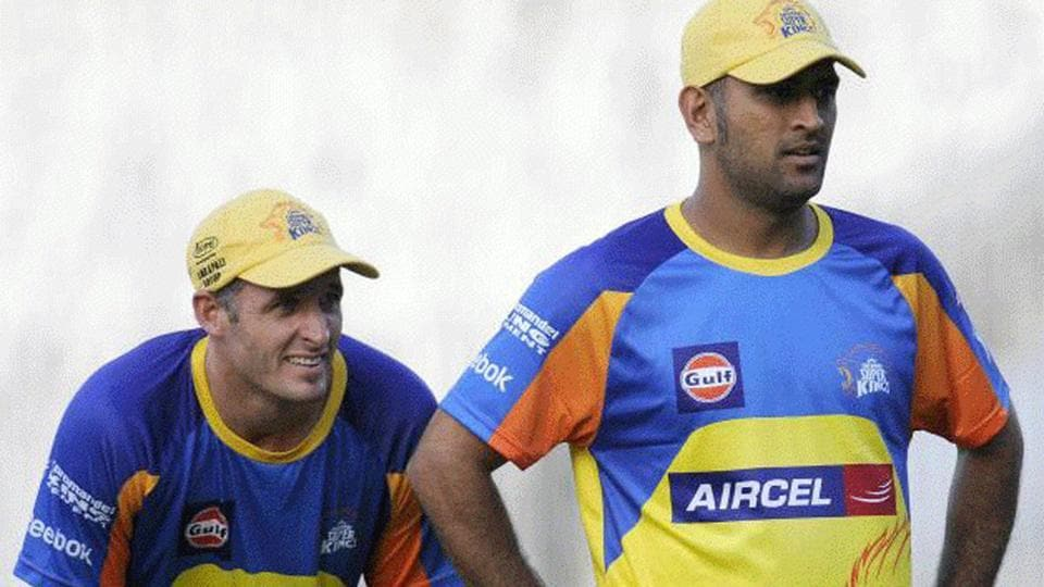 Michael Hussey and MS Dhoni during training.