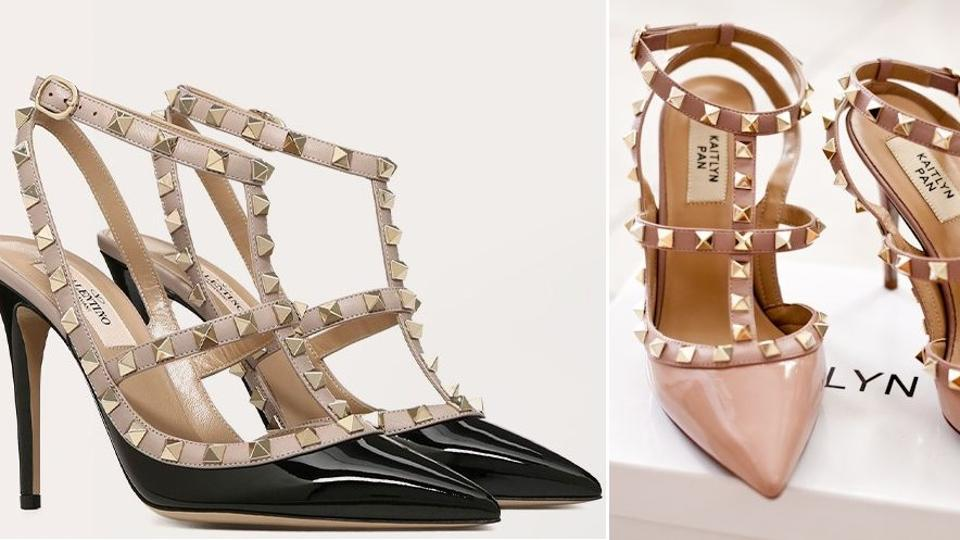 The lawsuit regards the Valentino Garavani Rockstud shoes (pictured left), Kaitlyn Pan has been selling cheap counterfeits of the same via her website and Amazon.