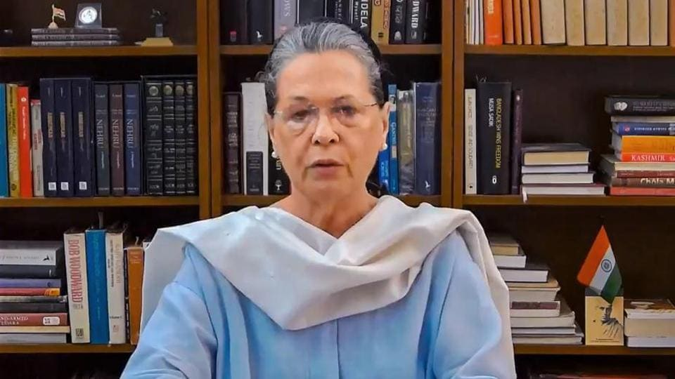 Sonia Gandhi during all-party meet with PM Modi and other opposition parties.