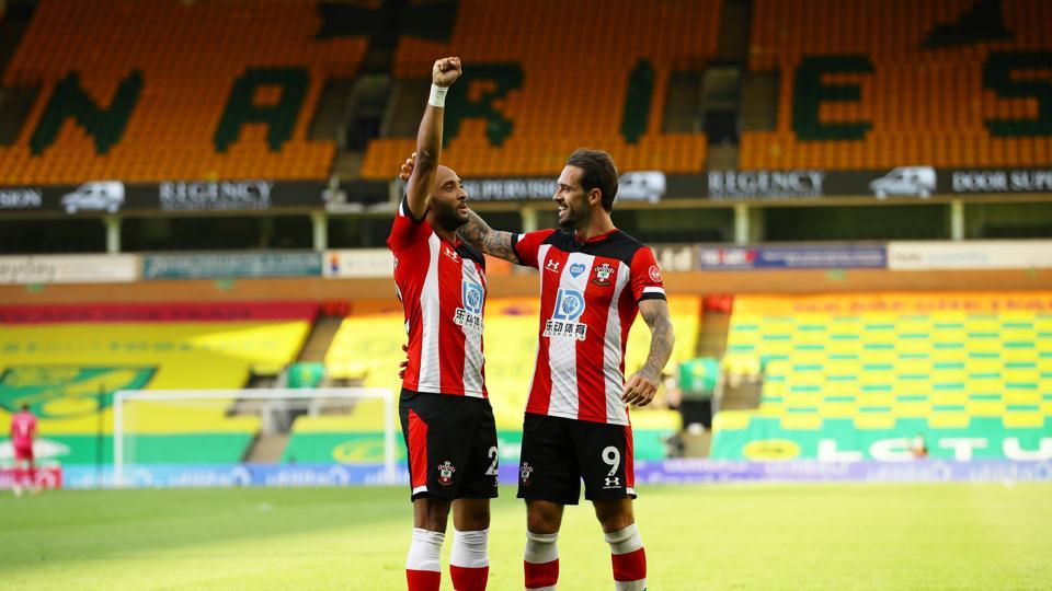 Southampton's Nathan Redmond celebrates scoring their third goal with Danny Ings, as play resumes behind closed doors following the outbreak of the coronavirus disease (COVID-19)
