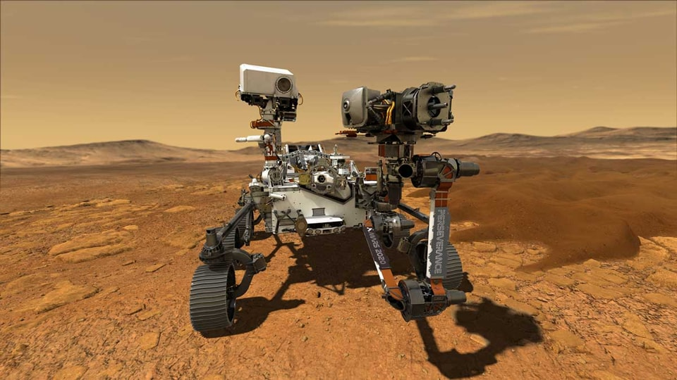 This artist's concept shows the Perseverance Mars rover on the Red Planet.