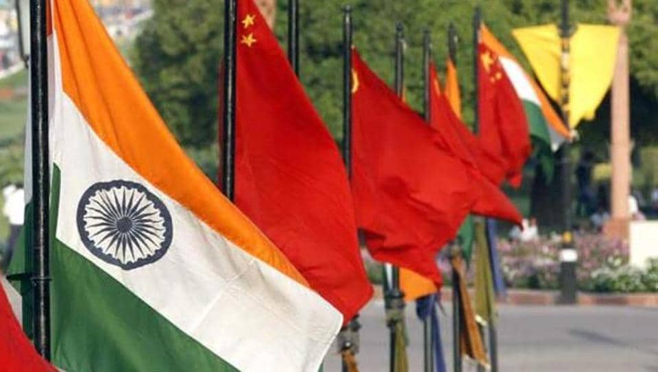 National-Flag-of-China-and-India-at-Vijay-Chowk-on-Rajpath-ahead-of-the-arrival-of-Xi-Jinping-President-of-China-to-the-capital-in-New-Delhi-