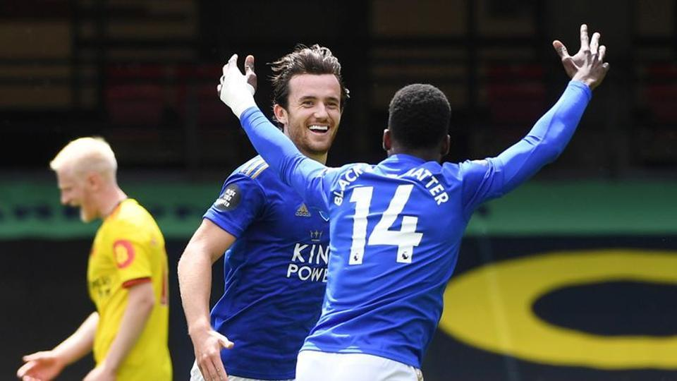 Soccer Football - Premier League - Watford v Leicester City - Vicarage Road, Watford, Britain - June 20, 2020 Leicester City's Ben Chilwell celebrates scoring their first goal with Kelechi Iheanacho as play resumes behind closed doors following the outbreak of the coronavirus disease (COVID-19)