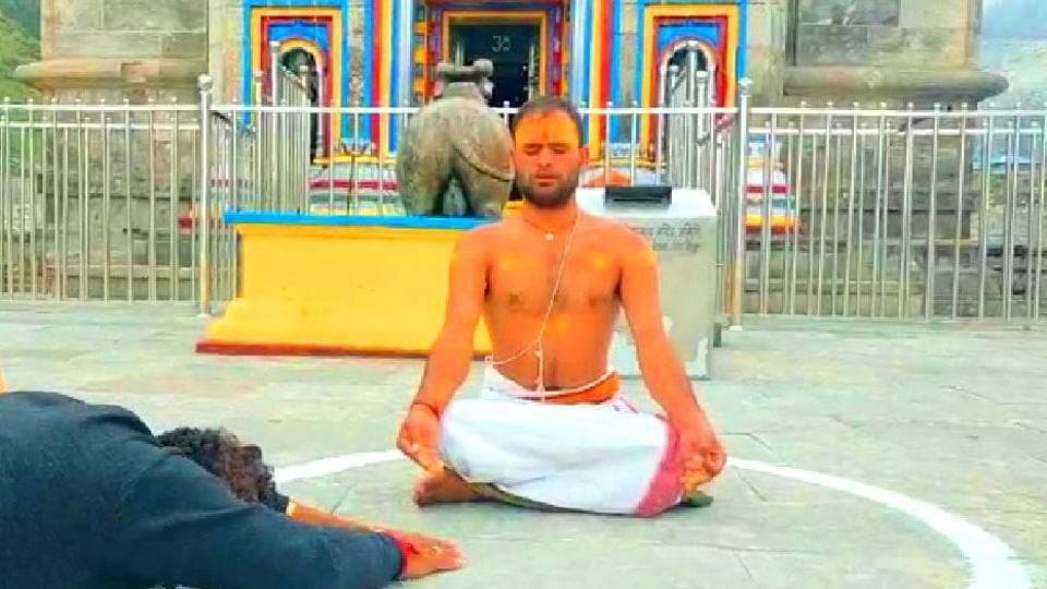 Santosh Trivedi, the priest protesting outside Kedarnath shrine against formation of Char Dham Board.