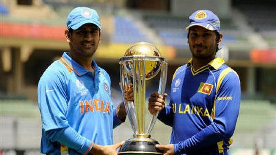 MS Dhoni and Kumar Sangakkar with the 2011 World Cup trophy.