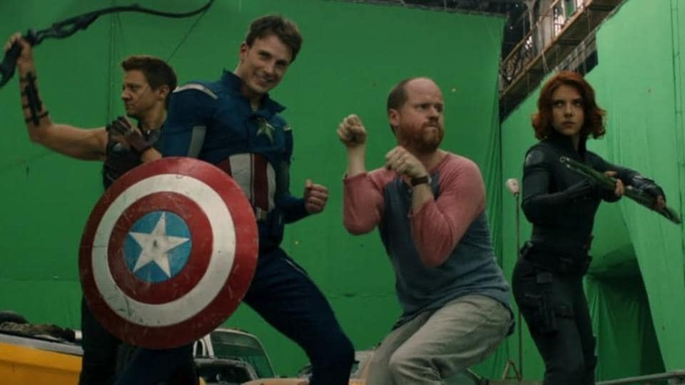 Joss Whedon and the Avengers cast goof off on the set of the first film.