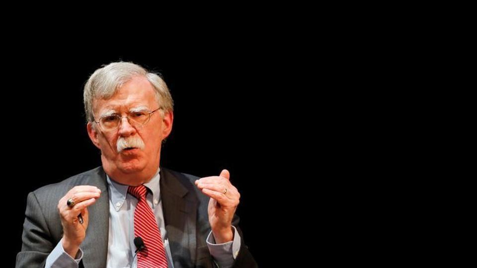 Former US national security advisor John Bolton speaks during his lecture at Duke University in Durham, North Carolina, US.