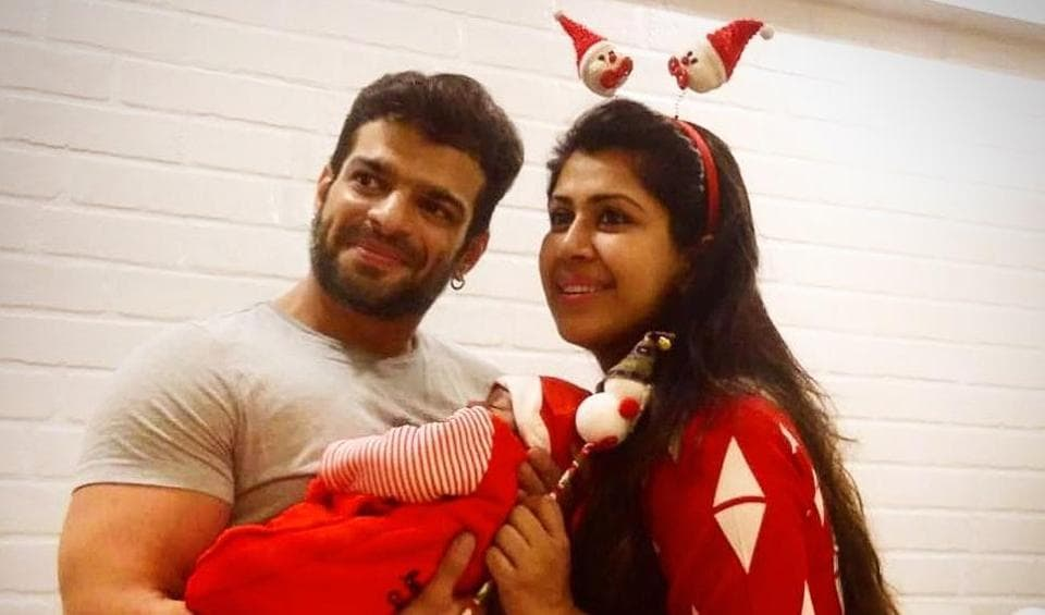 Karan Patel and Ankita Bhargava with their daughter Mehr.
