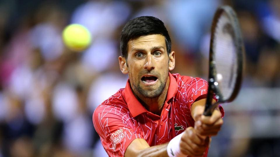 Serbia's Novak Djokovic in action during his match against Croatia's Borna Coric
