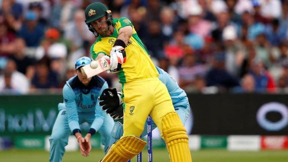 Australia's Glenn Maxwell hits a four in a match against England.
