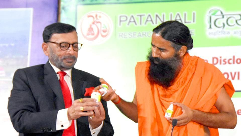 Baba Ramdev launching a medicine kit for Covid-19, in Haridwar on Tuesday.