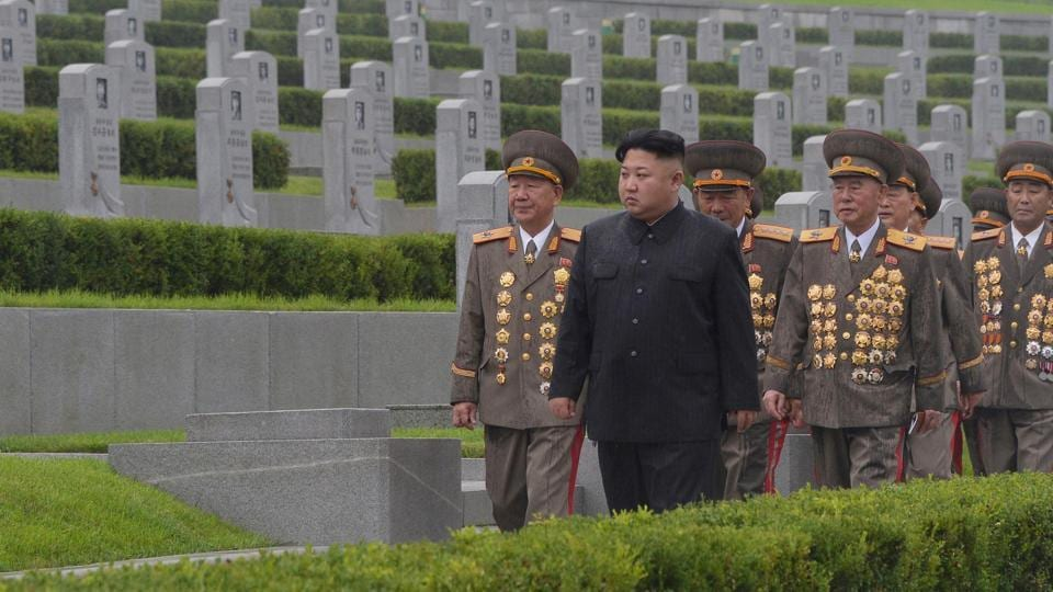 In this file photo, North Korean leader Kim Jong Un visits war graves to pay respects to the war dead for the 64th anniversary of the armistice which ended the Korean War.