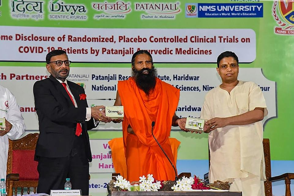 Baba Ramdev along with Acharya Balkrishna launches an Ayurvedic medicine kit that they claimed can treat coronavirus patients within seven days.