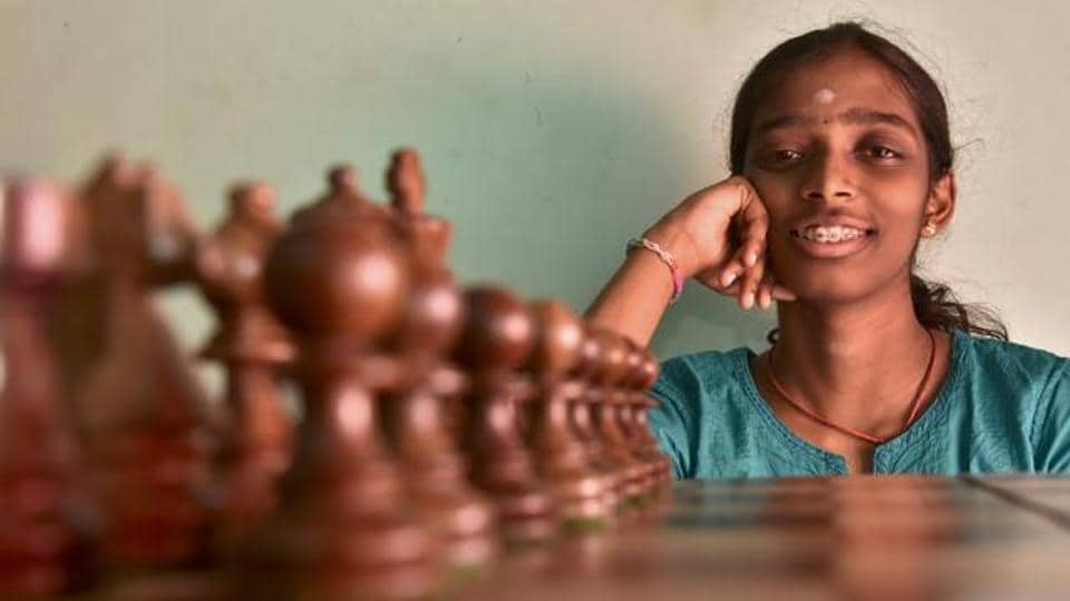 R Vaishali women's international master in chess during a photo shoot with Hindustan Times at her residence in Chennai, India.