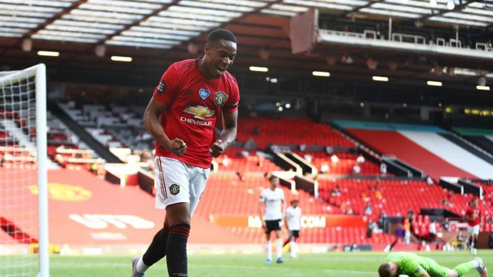 Soccer Football - Premier League - Manchester United v Sheffield United - Old Trafford, Manchester, Britain - June 24, 2020 Manchester United's Anthony Martial celebrates scoring their third goal to complete his hat-trick.