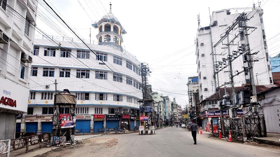File  photo of a  deserted Fancy Bazaar area  of  Guwahati, Assam.