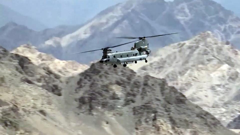 Indian Air Force aircraft carrying out sorties in Leh on Friday. The air activity has gone up in the region after the stand-off with China on the Line of Actual Control (LAC) there.