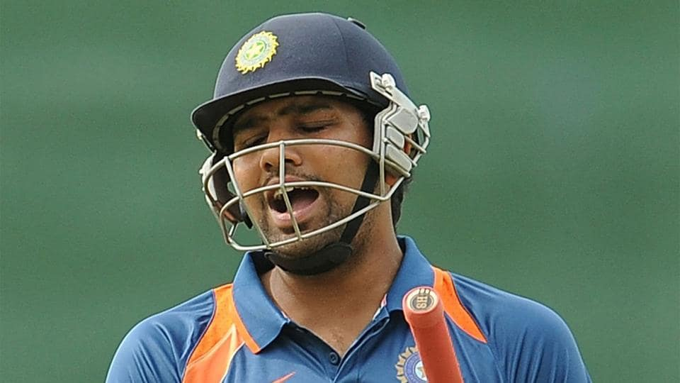 A dejected Rohit Sharma walks off after being dismissed cheaply against Sri Lanka in a match in 2010.