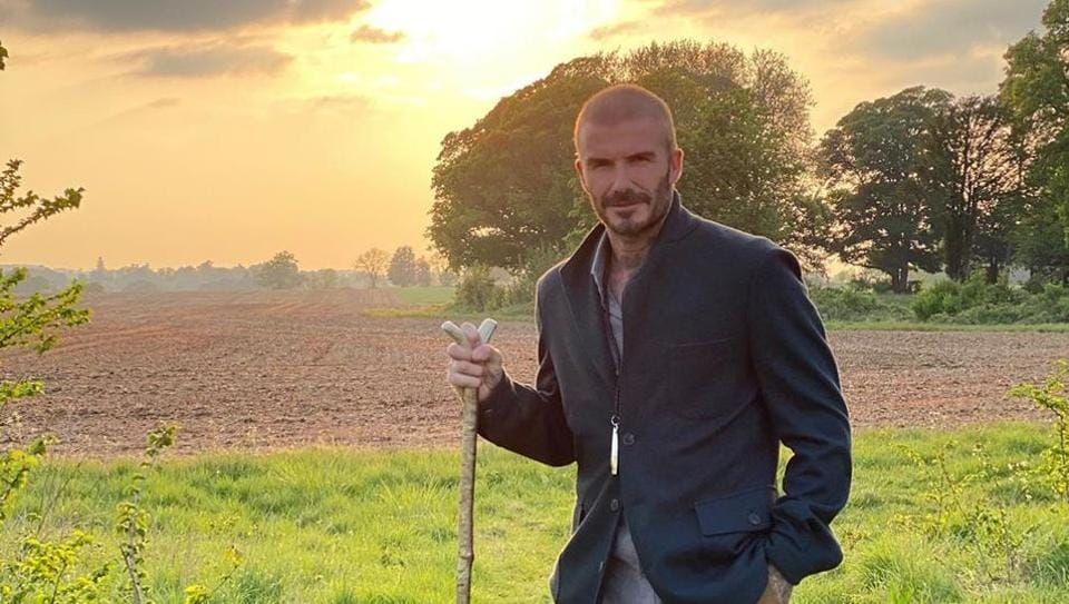Beckham photographed at his country home in Cotswold.
