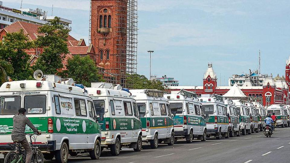 Ambulances parked in a queue in front of the Greater Chennai Corporation as number of Covid- 19 cases surge in the city, during the ongoing nationwide lockdown, in Chennai.