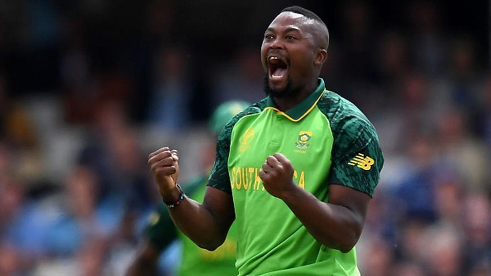 South Africa all-rounder Andile Phehlukwayo celebrates a wicket during the 2019 World Cup.