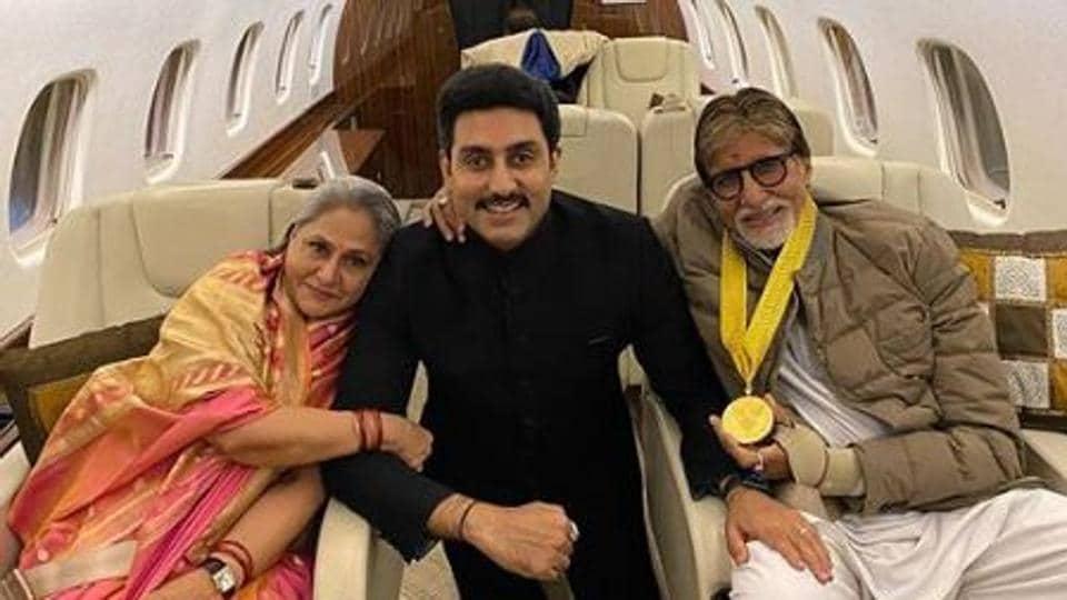 Abhishek Bachchan with his parents, Amitabh and Jaya Bachchan.