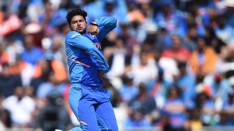 Kuldeep Yadav in his bowling stride.