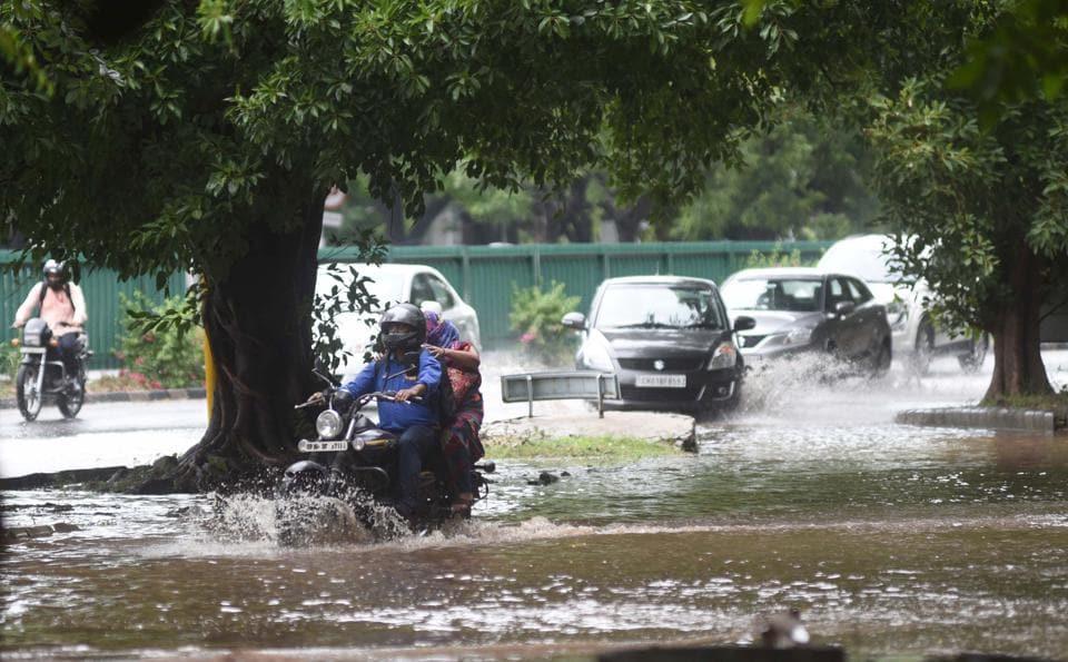 Waterlogging in Sector 9, Chandigarh, on June 19.